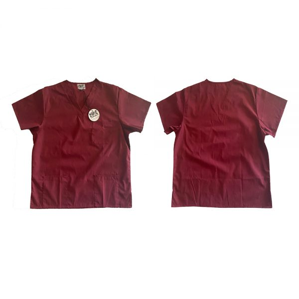 Unisex Scrub Top with Hip Pockets and Breast Pocket and Side Splits.